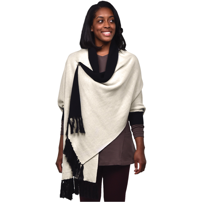 EarthHero - Organic Cotton Sweater Shawl - Black/Natural