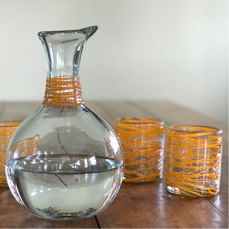 EarthHero - Handblown Recycled Glass Carafe - 3