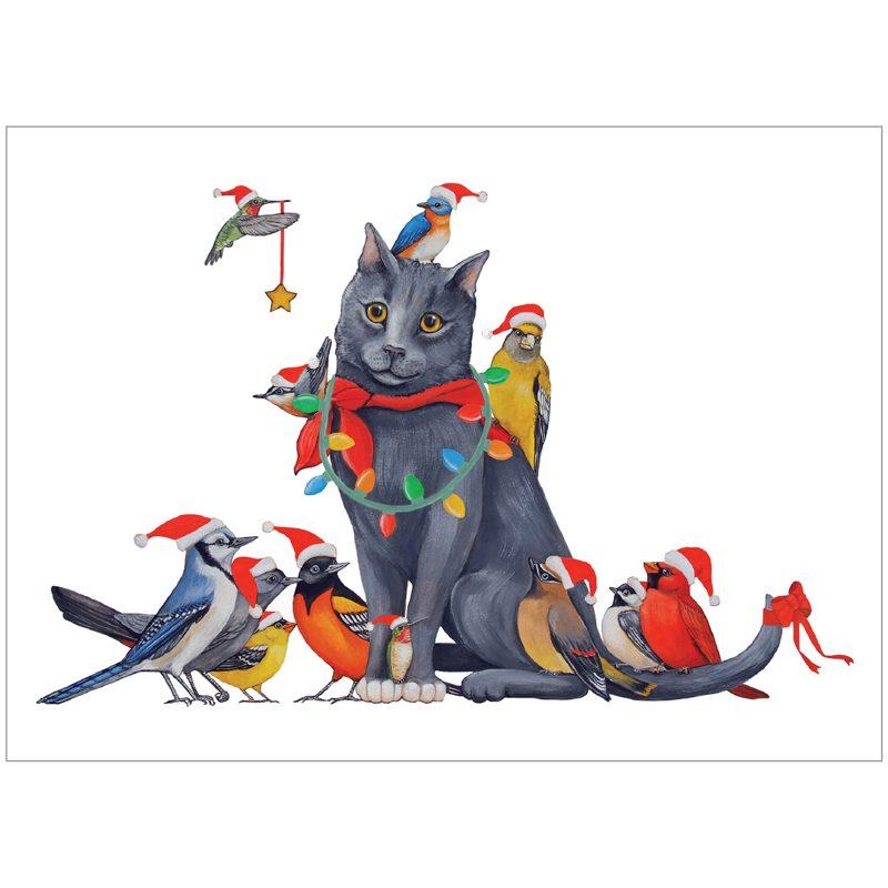 EarthHero - Cat Bird Christmas Cards (10 Pk) 1