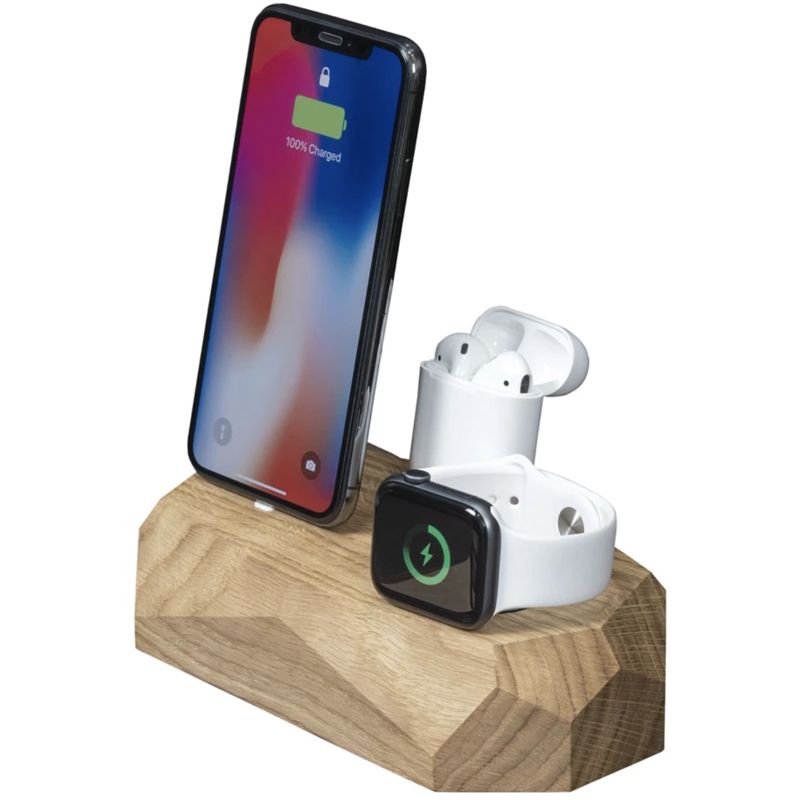 EarthHero - Triple Wooden iPhone Charging Dock - 1