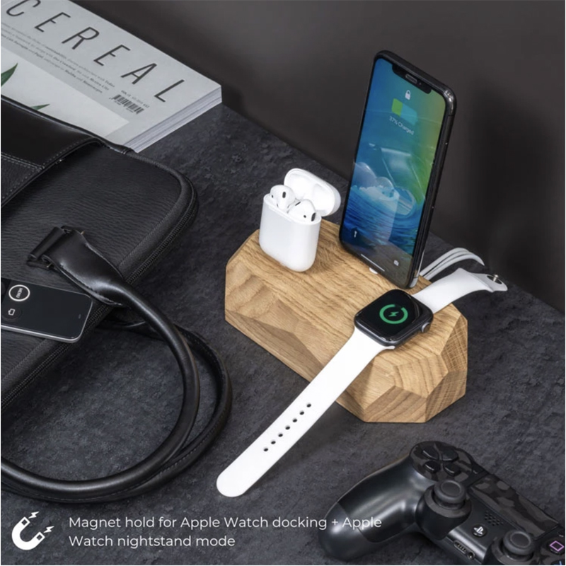 EarthHero - Triple Wooden iPhone Charging Dock - 2