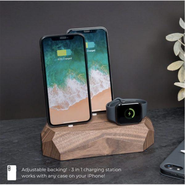 EarthHero - Triple Wooden iPhone Charging Dock - 6