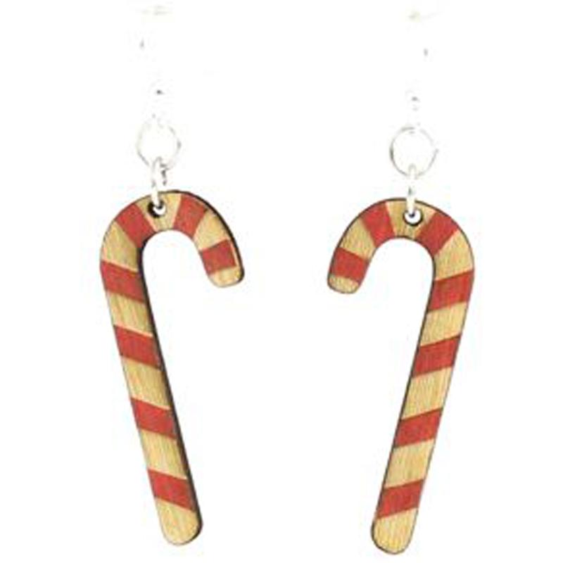 EarthHero - Candy Cane Wooden Earrings - 1