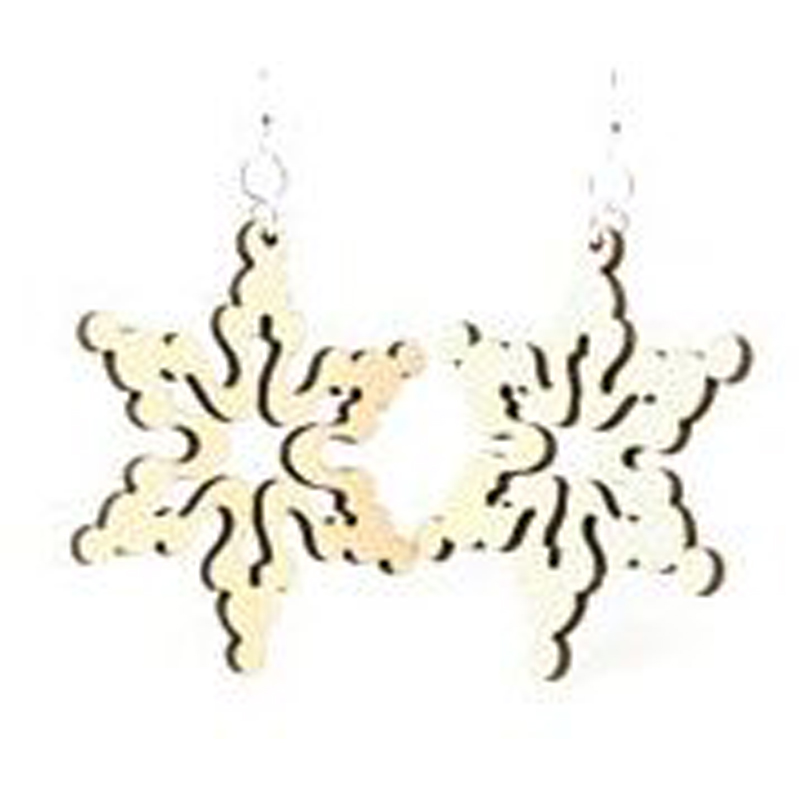 EarthHero - Cloudy Snowflake Wooden Earrings - 1