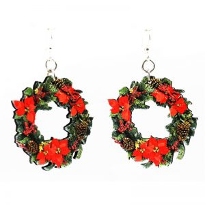 EarthHero - Large Christmas Wreath Wooden Earrings - 1