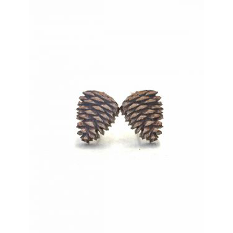 EarthHero - Pine Cone Stud Wooden Earrings - 1