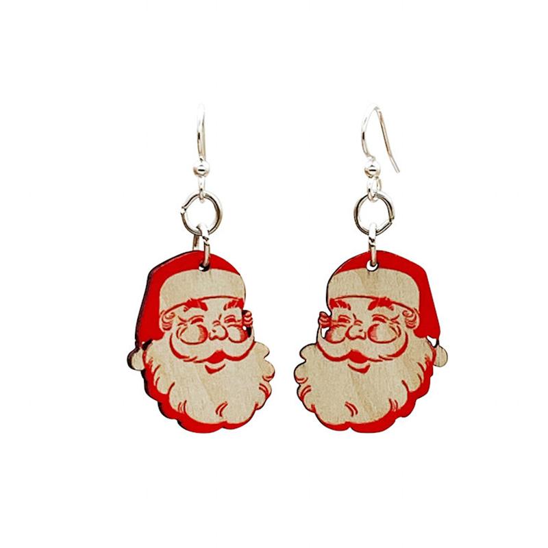 EarthHero - Santa Claus Wooden Christmas Earrings - 1