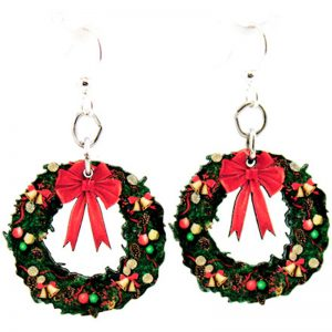 EarthHero - Small Christmas Wreath Wooden Earrings - 1