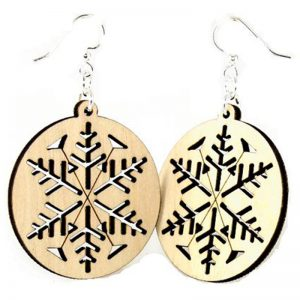 EarthHero - Snowflake Wooden Earrings - 1