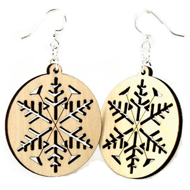 EarthHero - Snowflake Wooden Earrings - 1