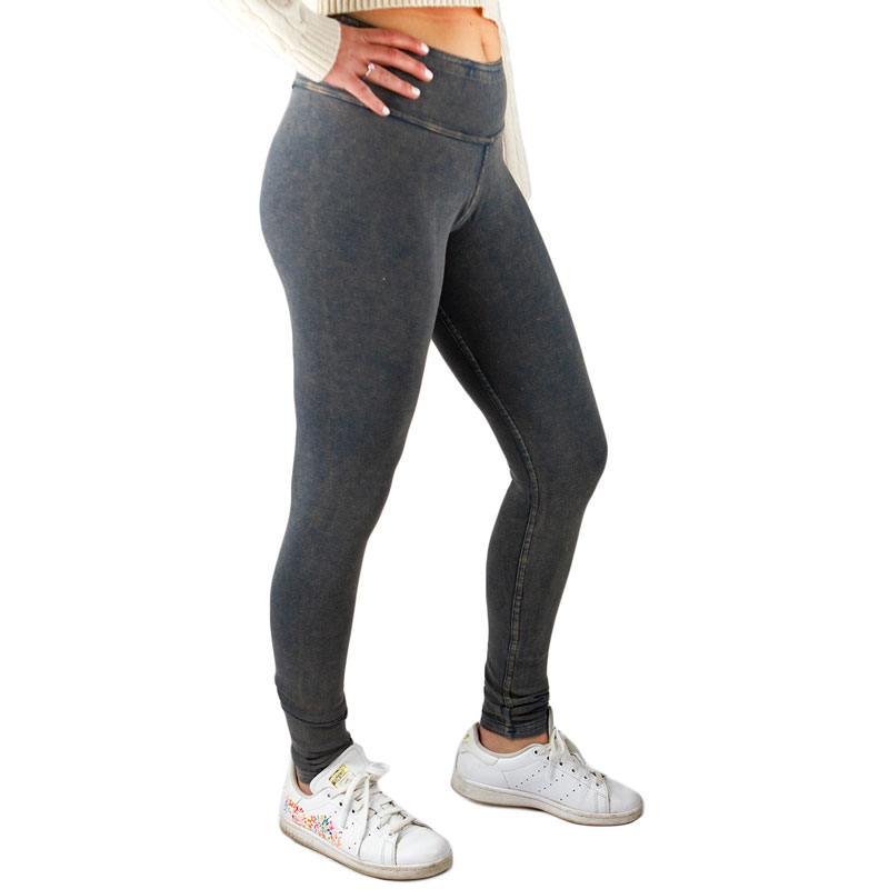 EarthHero - Organic Cotton Reversible Rib Ankle Legging - Distressed Dusty Denim