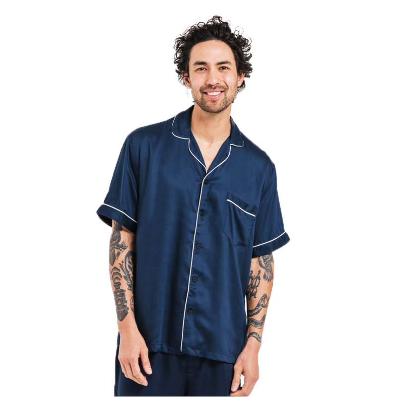 EarthHero - Men's Bamboo Lyocell Short Sleeve Pajama Shirt - Blue Nights