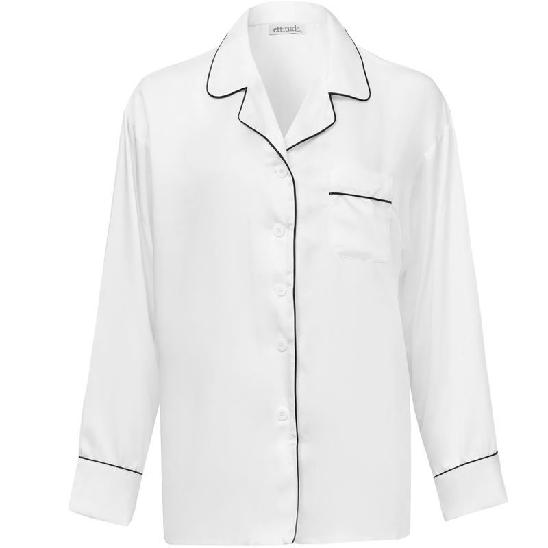 EarthHero - Women's Bamboo Lyocell Longsleeve Pajama Shirt - Feather White