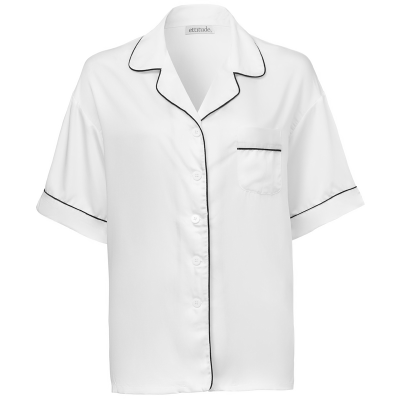 EarthHero - Women's Bamboo Lyocell Short Sleeve Pajama Shirt - Feather White