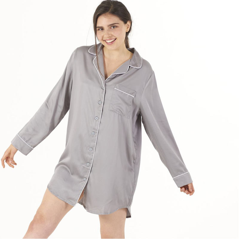 EarthHero - Women's Dove Grey Bamboo Charcoal Sleep Shirt - 1