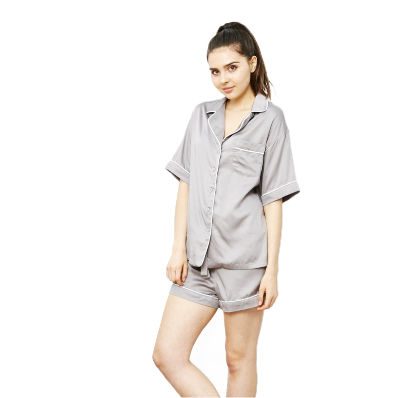 EarthHero - Women's Dove Grey Charcoal Bamboo Pajama Shorts - 1