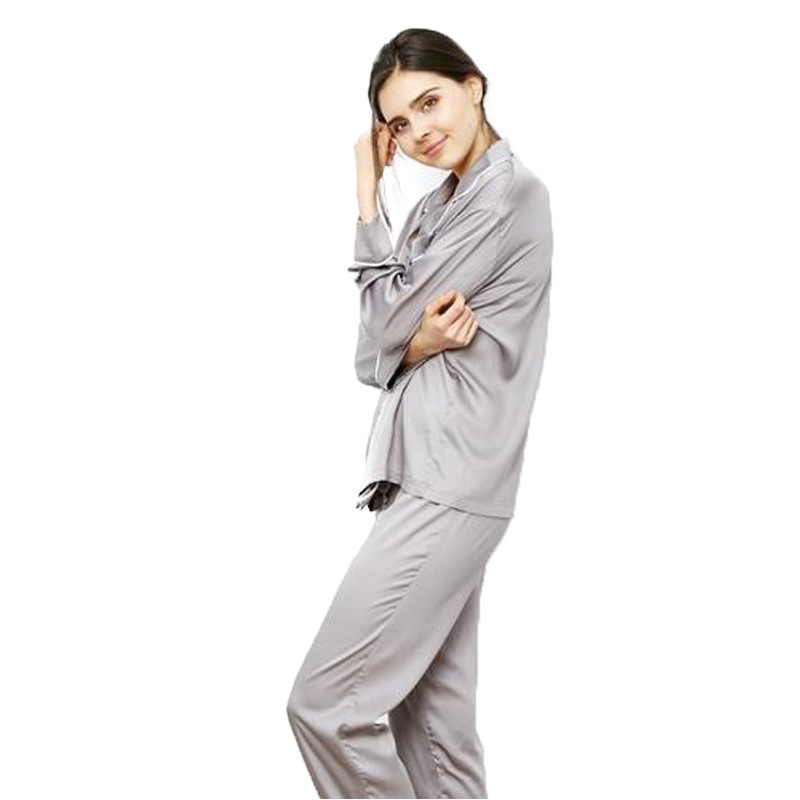 EarthHero - Women's Dove Grey Longsleeve Pajama Bamboo Shirt - 1