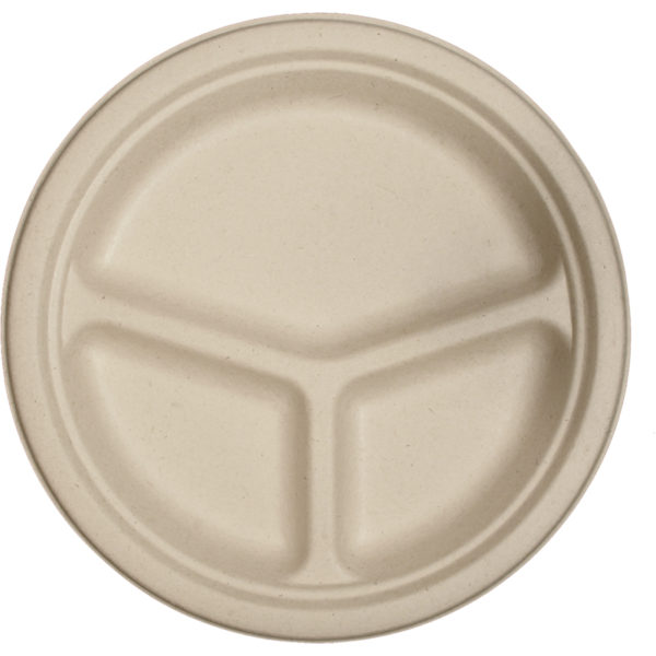 "EarthHero - World Centric Compostable 3-Compartment Plates 10"" - 1"