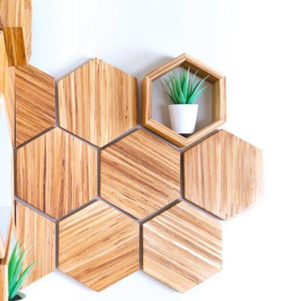 EarthHero - Hexagon Bamboo Shelf Starter Set 3
