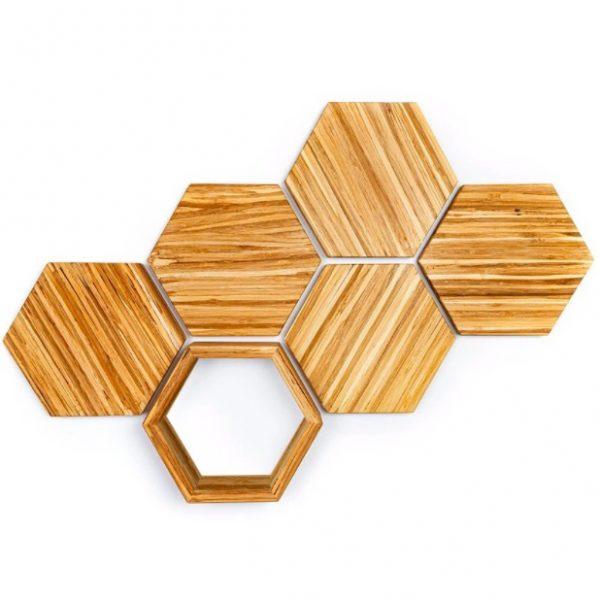 EarthHero - Hexagon Bamboo Shelf Starter Set - 6 Piece