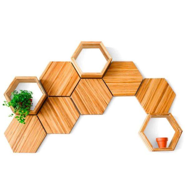 EarthHero - Hexagon Bamboo Shelf Starter Set - 9 Piece