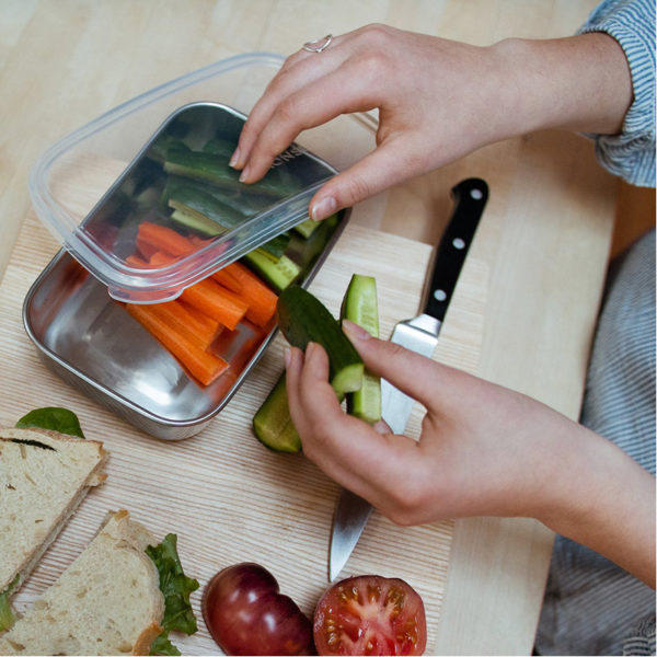 EarthHero - Stainless Steel Rectangle Clear To Go Food Storage Container - 25oz 2