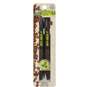 EarthHero - Retractable Coffee Bean Black Ballpoint Pen - 2pk 1