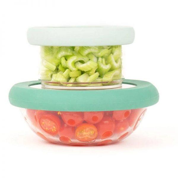 EarthHero - Food Huggers Green Bowl Lids - Set of 2 (XS