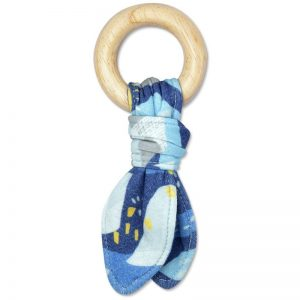 EarthHero - Blue Mountain Print Fabric Teething Toy