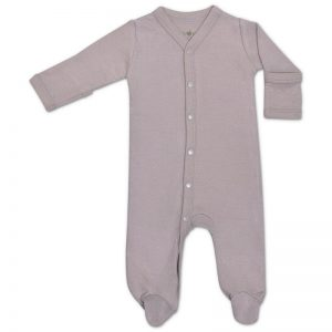EarthHero - Grey Pointellle Long Sleeve Baby Footie