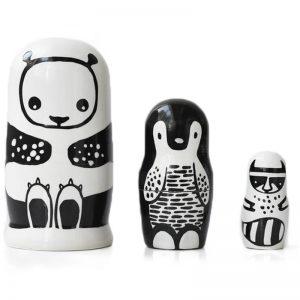 EarthHero - Wee Gallery Black White Animals Kids Nesting Dolls - 1