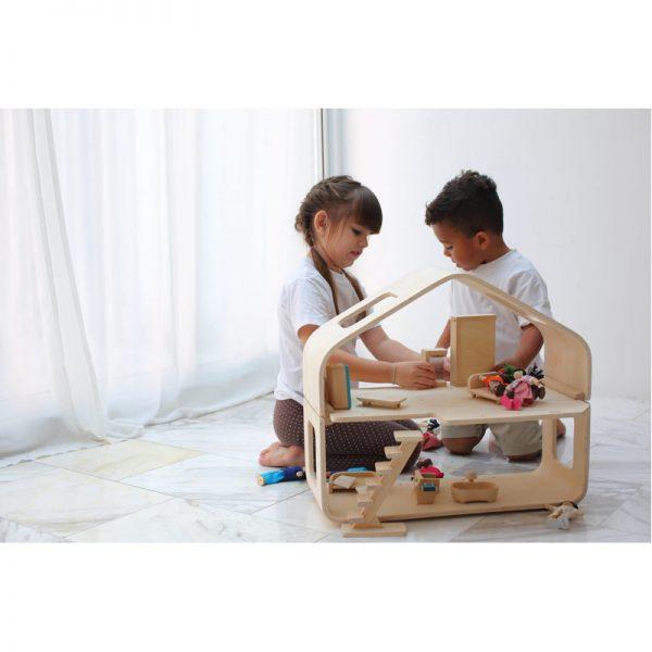 EarthHero - Pretend Play Contemporary Dollhouse Set - 2