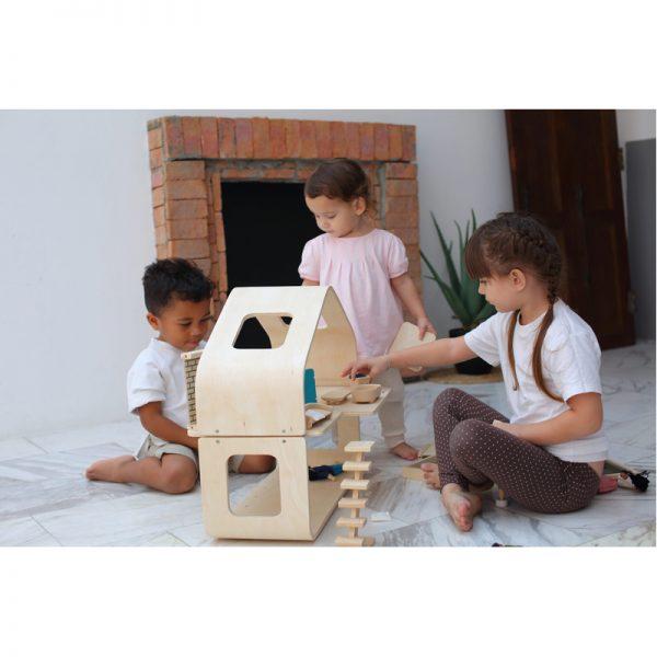 EarthHero - Pretend Play Contemporary Dollhouse Set - 3