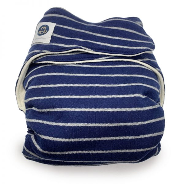 EarthHero - Fitted Reusable Diaper - Navy Blue/Grey Stripes - 1