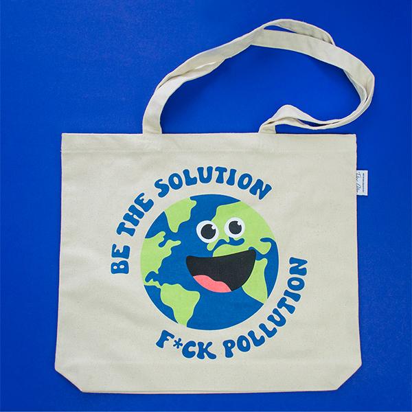 "EarthHero - ""Be the Solution"" Reusable Tote Bag - 3"