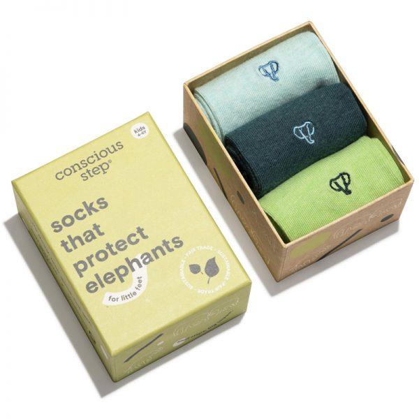 EarthHero - Kids Socks that Protect Elephants Gift Box 3pk - 2