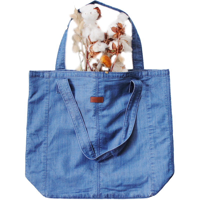 Photo of the blue Weekender Denim Tote Bag from the brand Porter Blue Apparel on EarthHero.