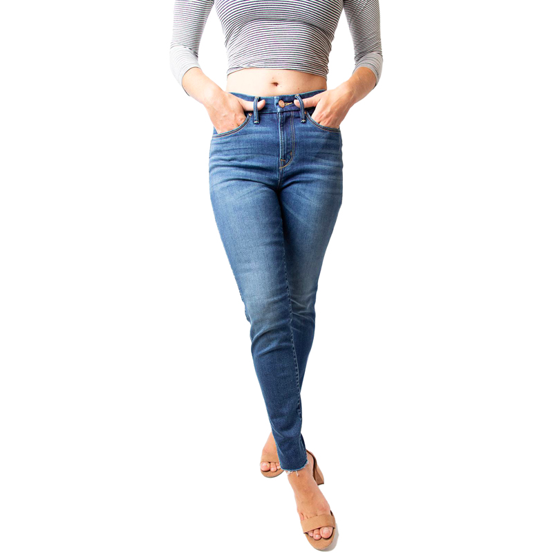 Photo of a model wearing the Heart Breaker High-Rise Skinny Jeans from the brand Porter Blue Apparel on EarthHero.